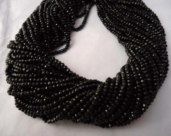Natural Black Onyx Beads Strand Roundel Shape Micro Faceted Size 3.5 MM Length 13''