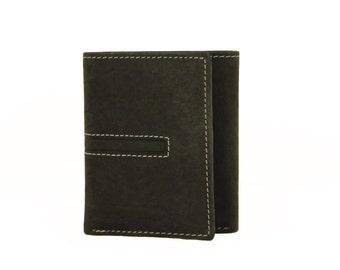 Mens Tri Fold Wallet Black Genuine Leather Handmade Sirocco-4877B