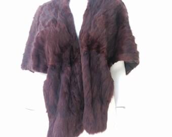Vintage 50s Wrap Fur Cape Stole Shrug