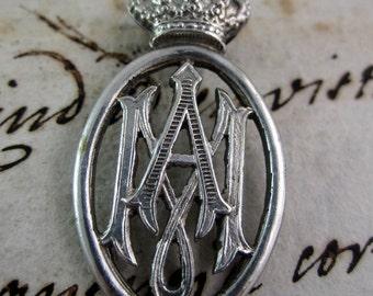 Set of three Elegant Button of Our Lady- Ave Maria Monogram.