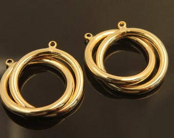 2 rings linked, T24-G3, 1 piece, Diameter 25mm (1 ring), 3mm thick, 16K gold plated brass, Ring pendant, Ring connector, Brass rings linked