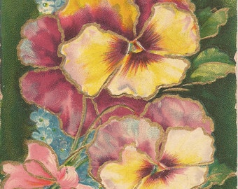 1909 Just A Line Post Card with Pansies