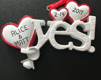 Personalized Engagement Ring Ornament / Christmas Ornament for Couples / Engagement Gift / Personalized Christmas Ornament / She Said Yes