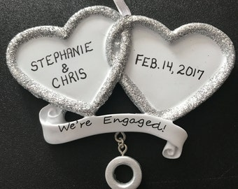 Personalized Engagement Ring Ornament / Christmas Ornament for Couples / Engagement Gift / Personalized Christmas Ornament / We're Engaged