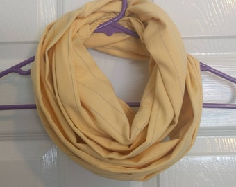 Yellow, flannel eternity scarf, handmade