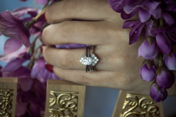 Vintage Fan Engagement Ring Guard - Sterling Silver Ring Enhancer with .43ct Cubic Zirconia