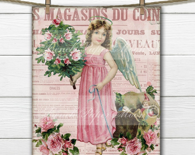 Victorian Shabby Chic Pink Angel Digital with roses and french Typography, French Pillow Transfer, Digital Christmas Graphic
