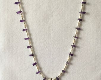 Lovely Hand Crafted. Amethyst, Freshwater Pearl and Sterling Silver Necklace