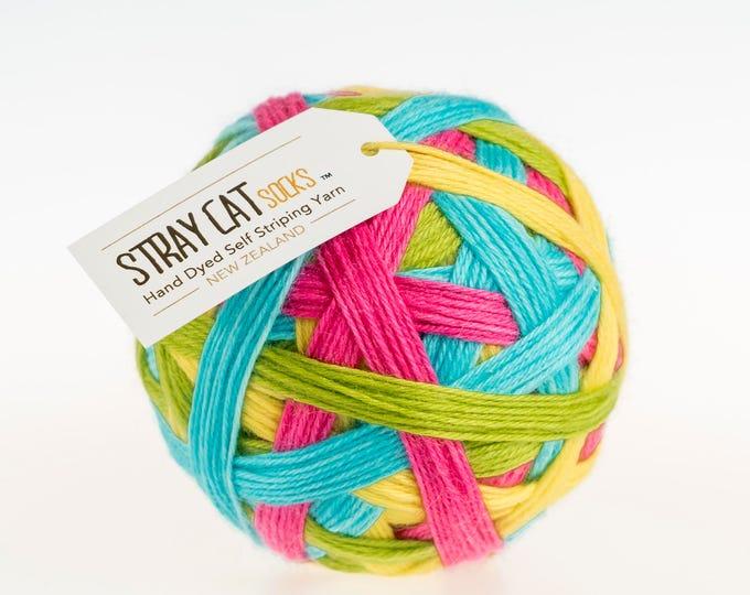 HUNNY BUNNY - vibrant hand dyed self striping sock yarn