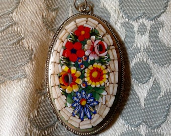 Vintage MicroMosaic Necklace Pendant White with Bright Flowers