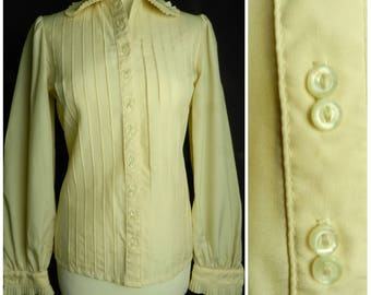 Sale 70s Jaeger cream RUFFLED pintucked off white polyester secretary blouse MOTHER of pearl buttons JAEGER U.K. 8 - 10 sm