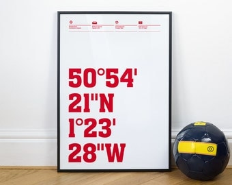 Southampton Football Stadium Coordinates Posters
