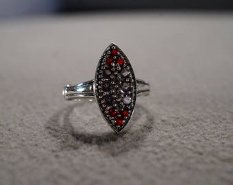 Vintage Sterling Silver Band Ring 12 Round Ruby Amethyst Fancy Victorian Style, Size 6