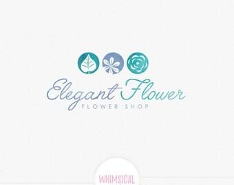 Elegant florist logo-Premade Photography Logo and Watermark, Classic Elegant Script Font gold glitter Rose flower Calligraphy Logo