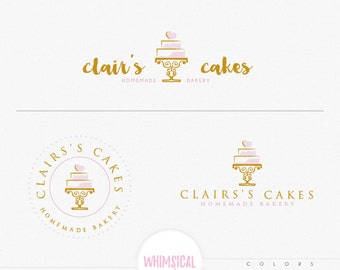 bakery and cake 2 -elegant emblem soft pastel look homemade bakery branding feminine design whimsical cake drawing logo shop sign design