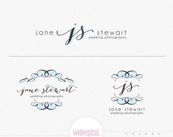 Hand-drawing sketchy wedding frame logo - Branding Package Photography Logo Watermark - tree WATERCOLOR glitter initials letters script