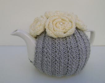 Silver Grey Hand Knit Tea Cozy with Cream Crocheted Flowers. Teapot Cozy.
