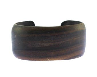 Vintage Chunky Wood Cuff Bracelet,  Wooden Cuff Bracelet, Natural Wood Bracelet, Carved Wood Cuff Bracelet, Wide Wood Bracelet