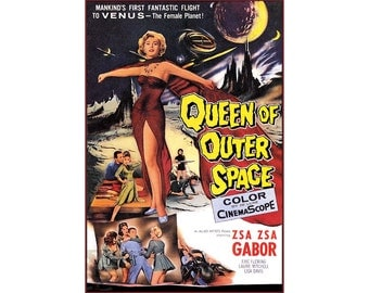 Queen Of Outer Space 1958 Zsa Zsa Gabor Classic Vintage Poster Retro Style Sci Fi Film Art Print FREE US Post Low EU Post