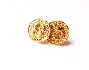 Vintage Gold Designer Repurposed Button Earrings