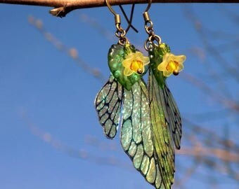 Fairy Wing Earrings, Primrose Flower Fairy Earrings, Faerie Earrings, Iridescent Earrings, Hand Painted, Dangle Earrings, Boho