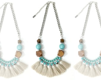 Beige fringe necklace, geometric wood beads, turquoise brown necklace, natural tassels necklace, tribal statement necklace.
