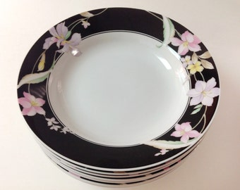 "Baker Hart Stuart ""Lauren"" Soup Bowls, Set Of Eight, 1980s Floral Porcelain Bowls, Black Band, Japan (8)"