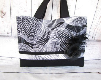 Black and White Swirl tote