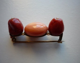 Antique Victorian Red Coral Angel Skin Coral Seed Pearl 14K Rose Gold Brooch Pin