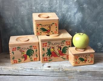 Rooster Wooden Kitchen Canisters: Vintage Four Piece Set of Nesting Canisters, Farmhouse Country Kitchen, Retro Wood Kitchen Pantry Storage