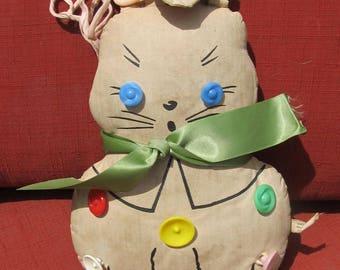 Stuffed vintage rabbit; Krueger Oil cloth Toy Bunny; 1940
