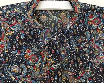 Blue paisley vintage blouse