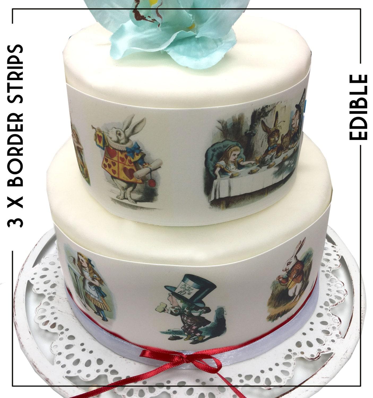 Edible Cake Decorations Alice In Wonderland : Alice in Wonderland Cake Borders Edible Icing Sheet Cake