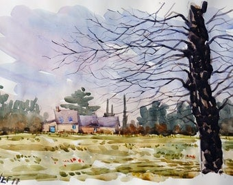 "Landscape original watercolor ""Maison à Pont Réan Brittany"" painting countryside Brittany decor france landscape wall france french art"