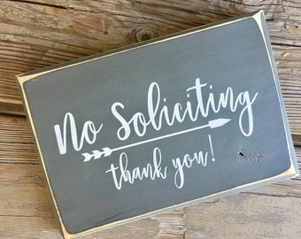 No Soliciting Thank You Wood Sign Housewarming Gift Front Door Sign Porch Decor Under 15 No Soliciting Sign Grey Wooden Sign