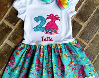 Girls Appliquéd Poppy Troll Dress with Name and Birthday Number or Flower