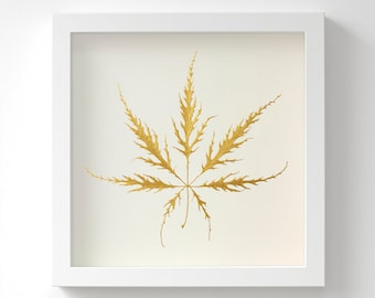 Japanese Maple leaf (Acer palmatum 'Dissectum') – Gold Art – Original Acrylic Painting – Handmade in 6 Metallic Shades – 3 Sizes – Unframed