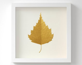 Birch Leaf – Original Acrylic Painting – Gold Leaf – Hand Painted in 6 Metallic Shades – Wall Art – Handmade – In 3 Sizes – Unframed