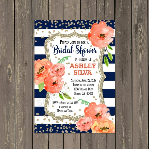 Navy blue and coral bridal shower invitation floral blue white il570xn filmwisefo