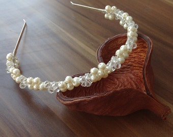 bridal tiara, ivory headband, wedding head piece, pearl and crystal halo, brides accessories, gift for her, hair flowers