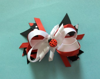 Ladybug Black and Red Layered Boutique Hair Bow