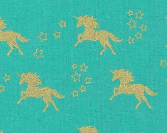 Custom Made Fitted Crib Sheet ~Gold Unicorns on Light Turquoise ~