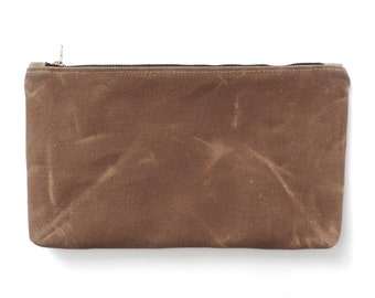 Waxed Canvas Large Pouch Clutch Purse Cosmetic Bag Tan