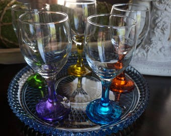 Vintage, Set of Five Eight Ounce Wine Glasses with Blue Glass Tray