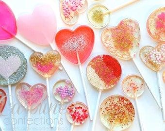 Valentine's Day Lollipops, 10 Sparkle Lollipop Variety Set, Be Mine, Heart Lollipops, Sparkle Lollipops, Sweet Caroline Confections
