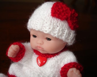 "Lots To Love, Berenguer, Tiny Miniature Doll - Too Cute For Words Baby - 5"" Tall - White & Red Hand Knit Dress"