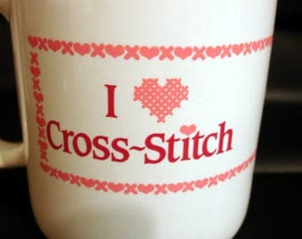 I Cross Stitch Beverage Coffee Mug Cup - Excellent Condition