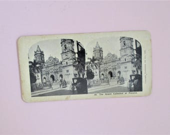 Grand Cathedral at Panama Antique Continental Art Co Stereograph Card #23 1906 Vintage Stereoview Card in Sepia Collectible Vintage Photo
