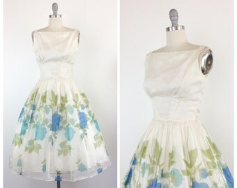 50s Rose Print Chiffon Party Dress / 1950s Vintage Prom Dress / Small / Size 4