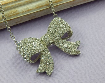 Bow Necklace, Silver Bow Necklace, Crystal Bow necklace, Adjustable Necklace